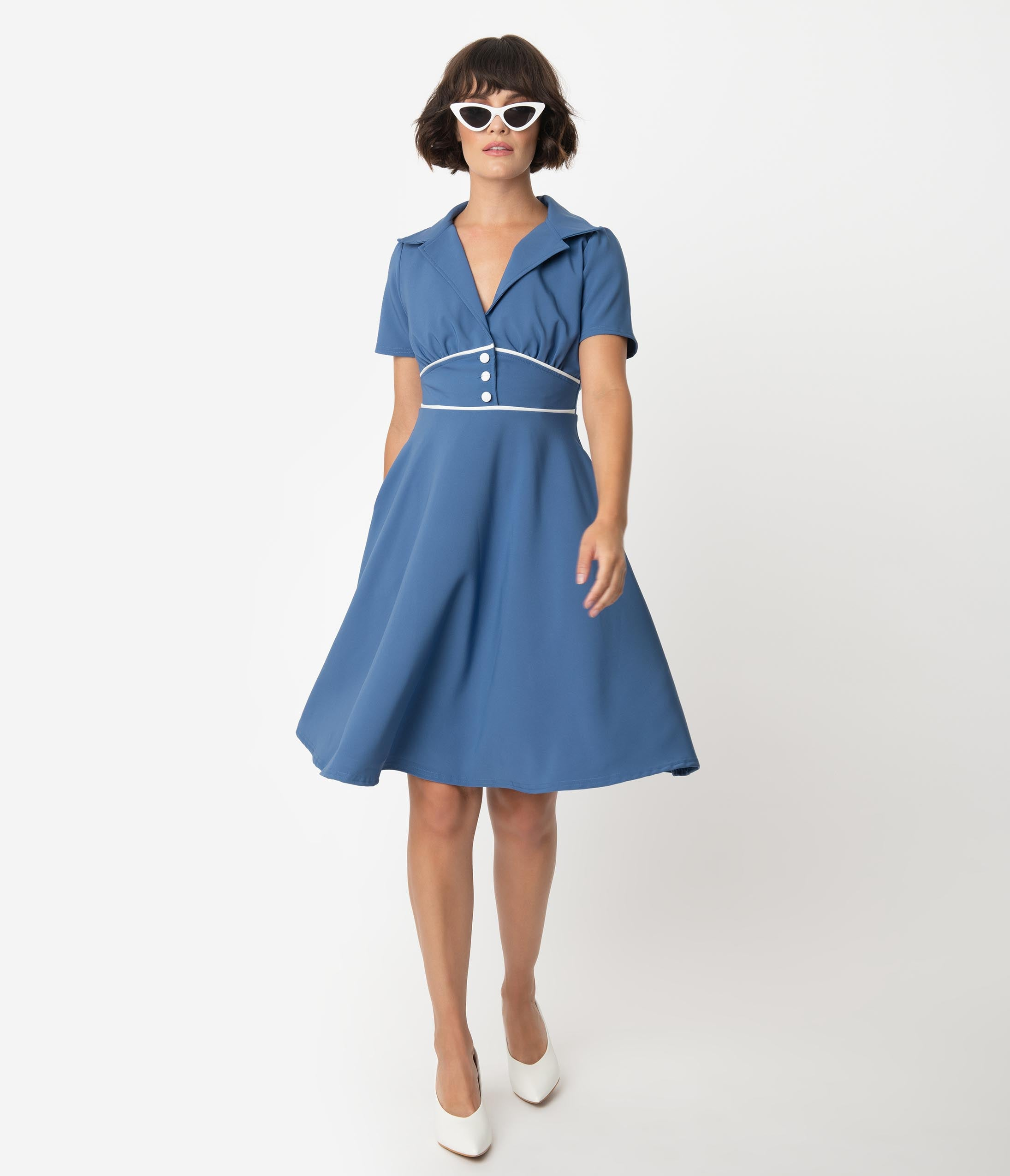 Swing Dance Clothing You Can Dance In Steady 1940S Style Blue Shadow Katherine Swing Dress $74.00 AT vintagedancer.com