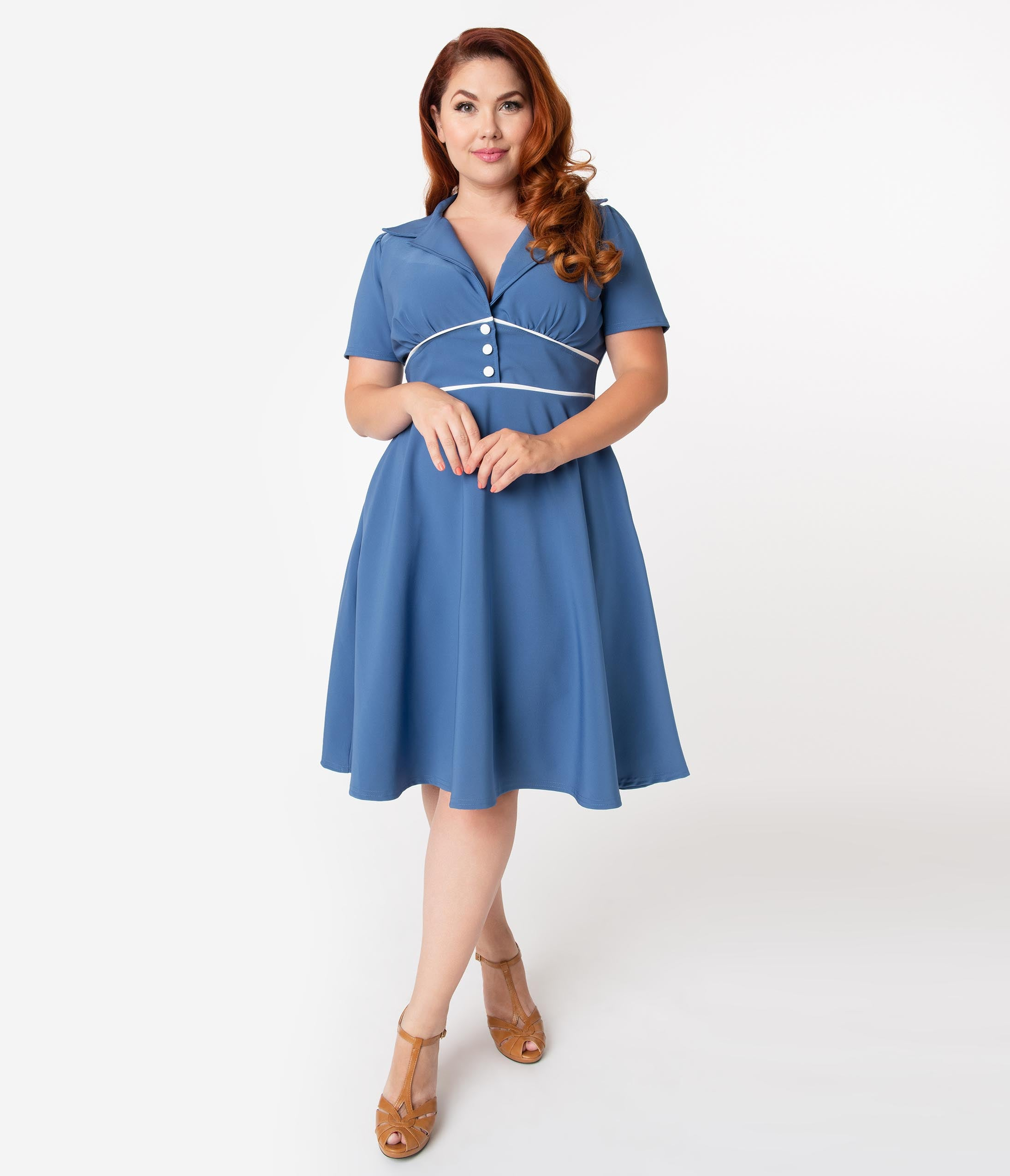 1940s Clothing Steady Plus Size 1940S Style Blue Shadow Katherine Swing Dress $74.00 AT vintagedancer.com