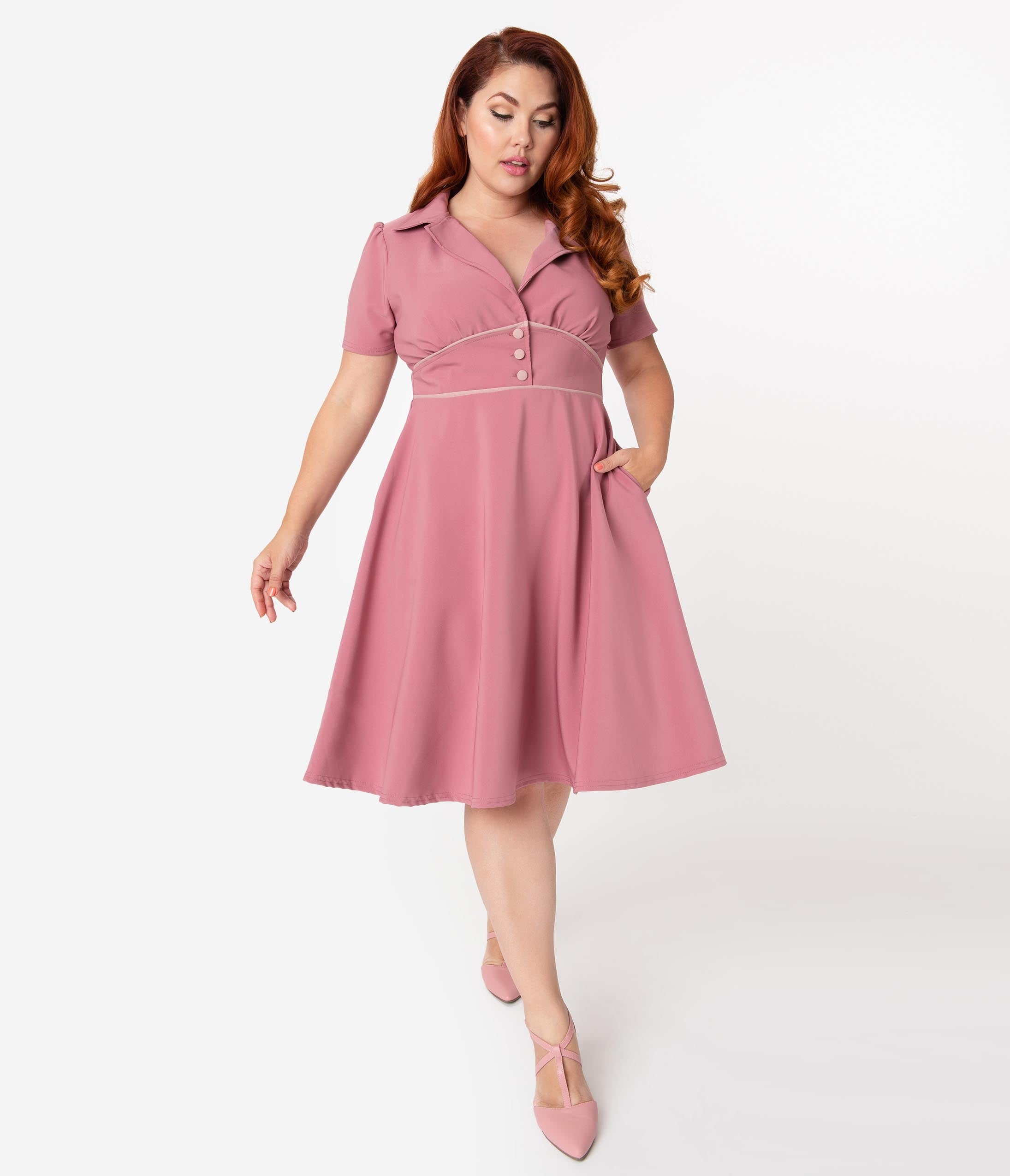 1940s Dresses | 40s Dress, Swing Dress Steady Plus Size 1940S Style Mulberry Pink Katherine Swing Dress $74.00 AT vintagedancer.com