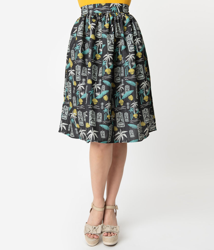 Steady 1950s Style Black Tiki Paradise Print Gathered Swing Skirt