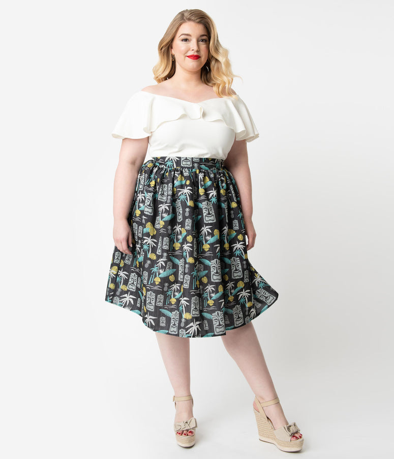 Steady Plus Size 1950s Style Black Tiki Paradise Print Gathered Swing Skirt