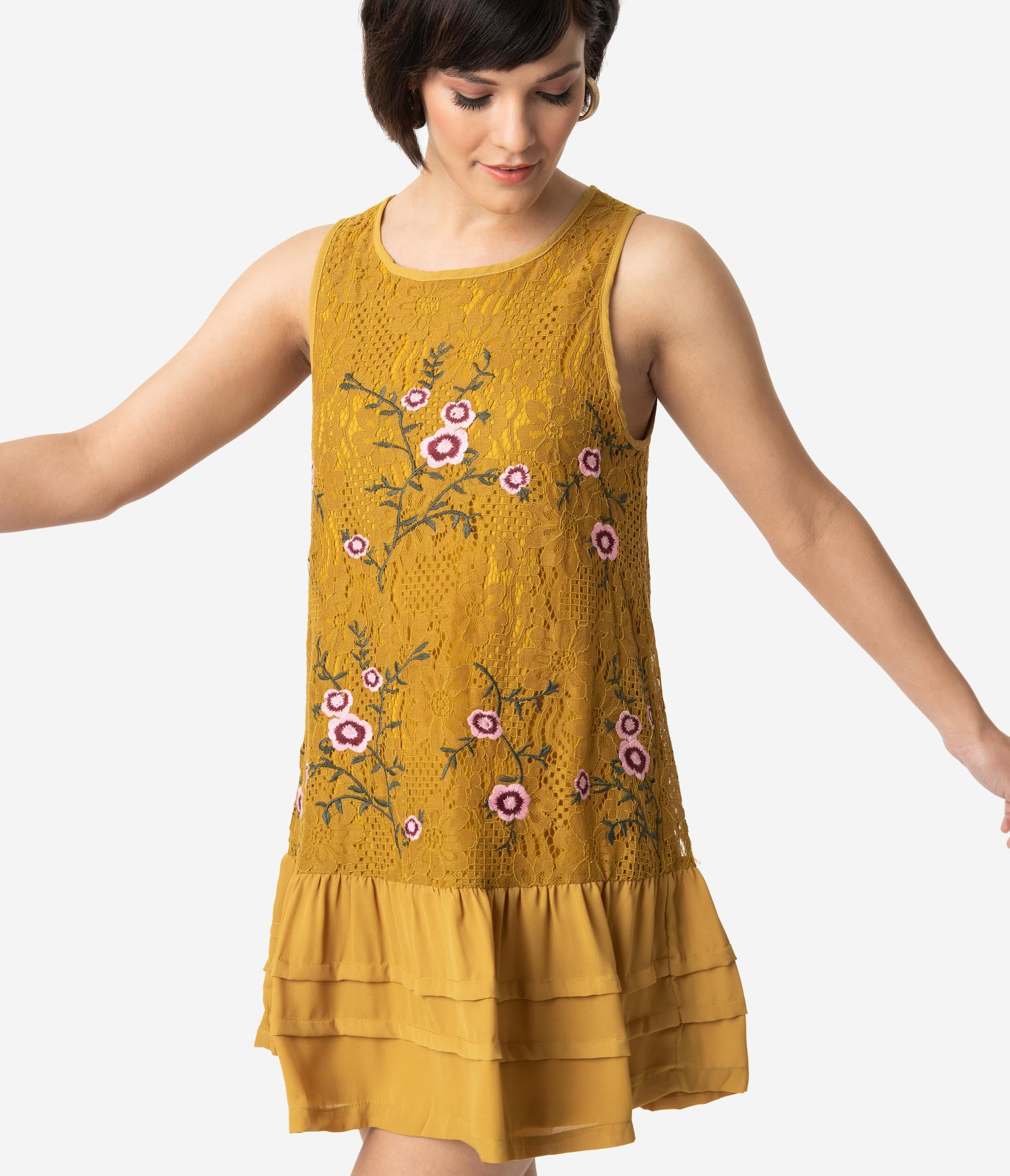 1920s Style Dresses, 20s Dresses 1920S Style Mustard Yellow Floral Embroidered Lace Sleeveless Drop Waist Dress $44.00 AT vintagedancer.com