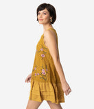 1920s Style Mustard Yellow Floral Embroidered Lace Sleeveless Drop Waist Dress