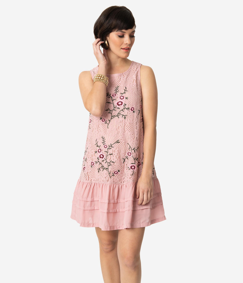 1920s Style Rose Pink Floral Embroidered Lace Sleeveless Drop Waist Dress