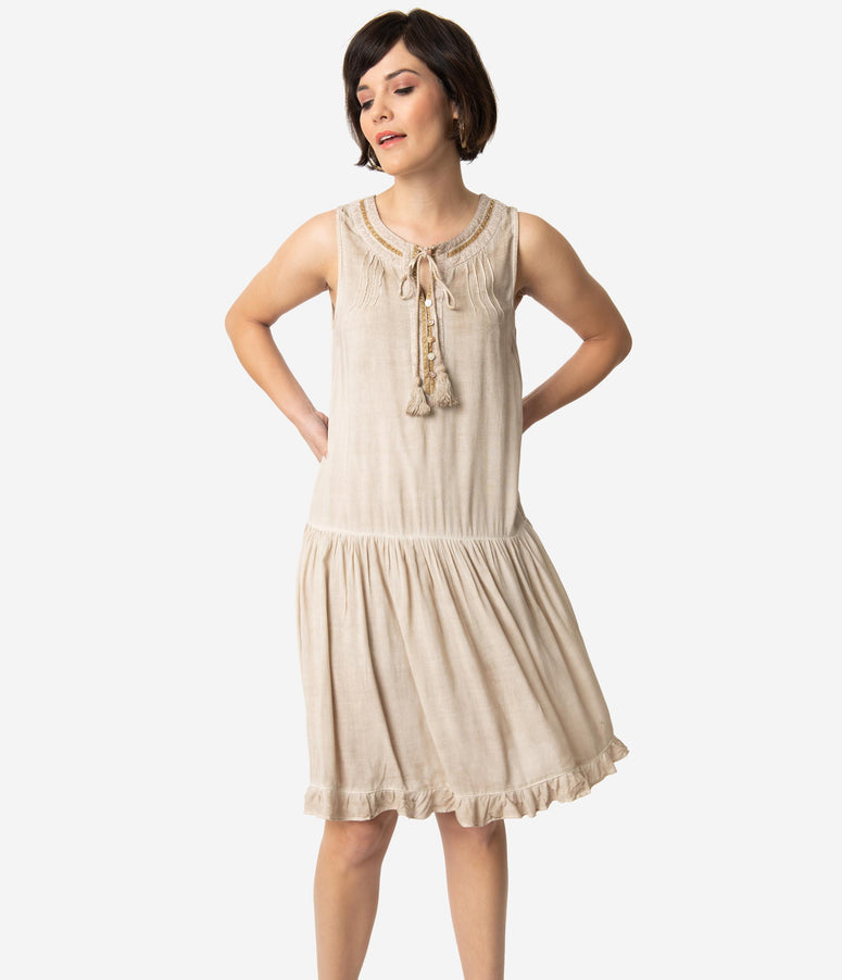 1920s Style Tan Sleeveless Drop Waist Dress
