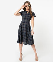 A-line Swing-Skirt Cap Flutter Sleeves Plaid Print Fitted Darts Self Tie Vintage Keyhole Dress