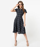 Unique Vintage 1940s Style Blue Plaid Formosa Swing Dress