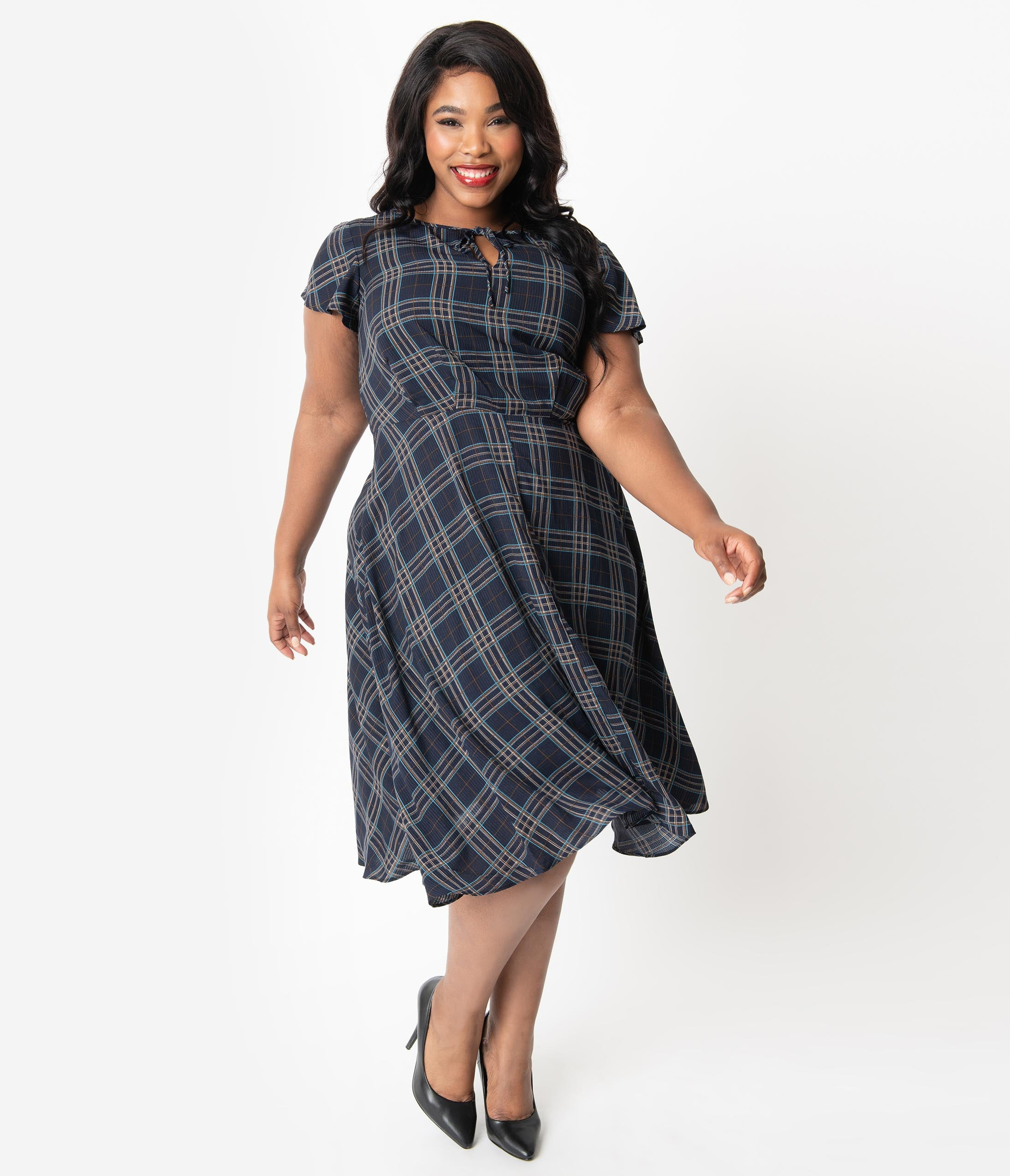 1940s Plus Size Dresses | Swing Dress, Tea Dress Unique Vintage Plus Size 1940S Style Blue Plaid Formosa Swing Dress $78.00 AT vintagedancer.com
