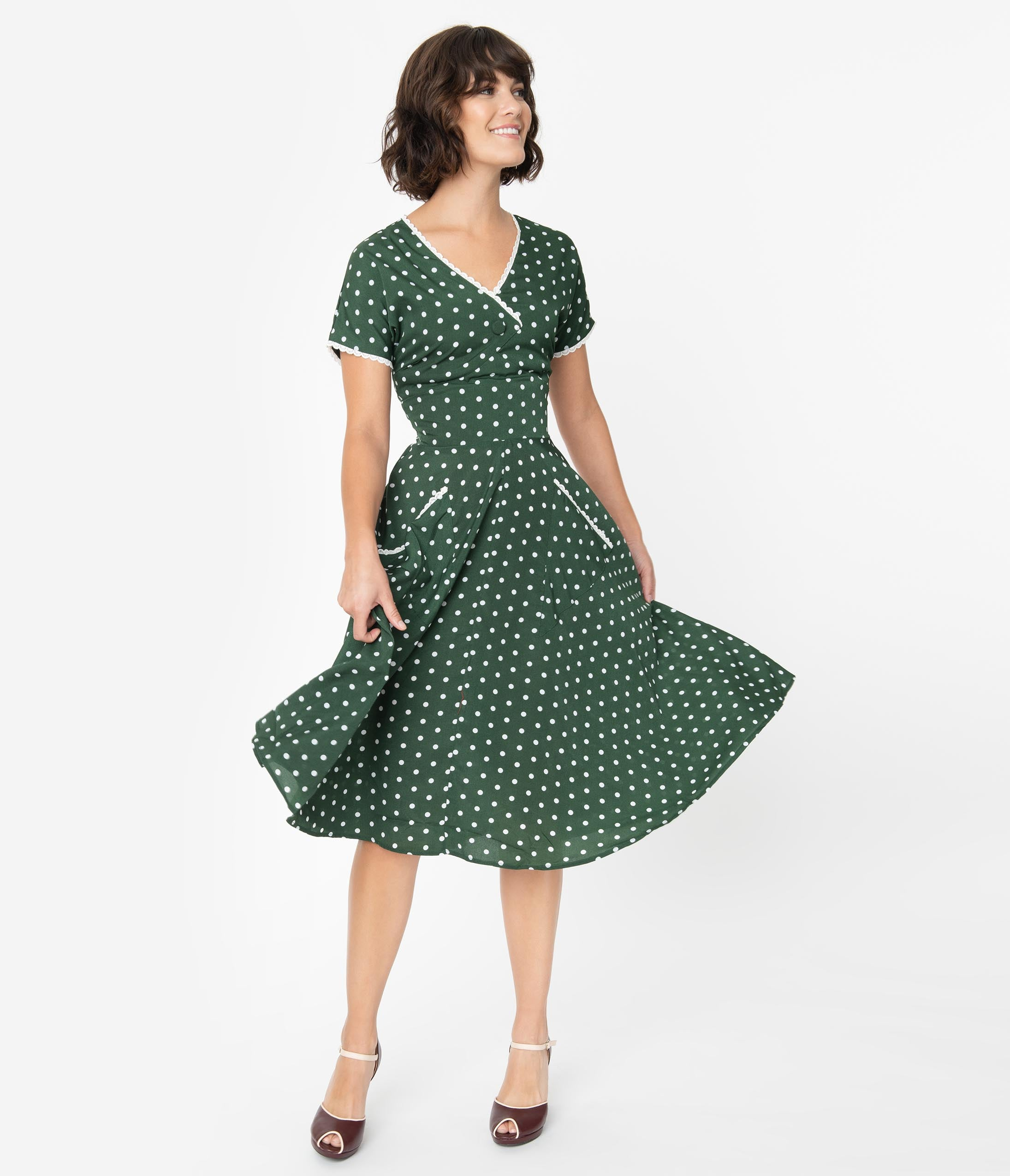 1940s Fashion Advice for Tall Women Unique Vintage 1950S Dark Green  White Polka Dot Goldie Swing Dress $78.00 AT vintagedancer.com