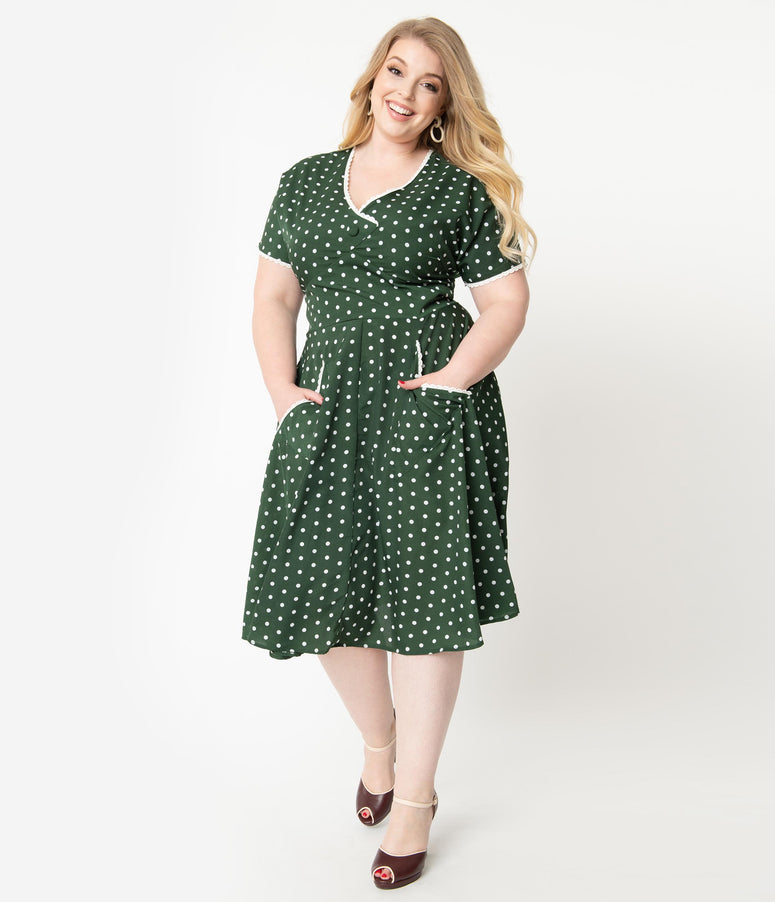 Unique Vintage Plus Size 1950s Dark Green & White Polka Dot Goldie Swing Dress