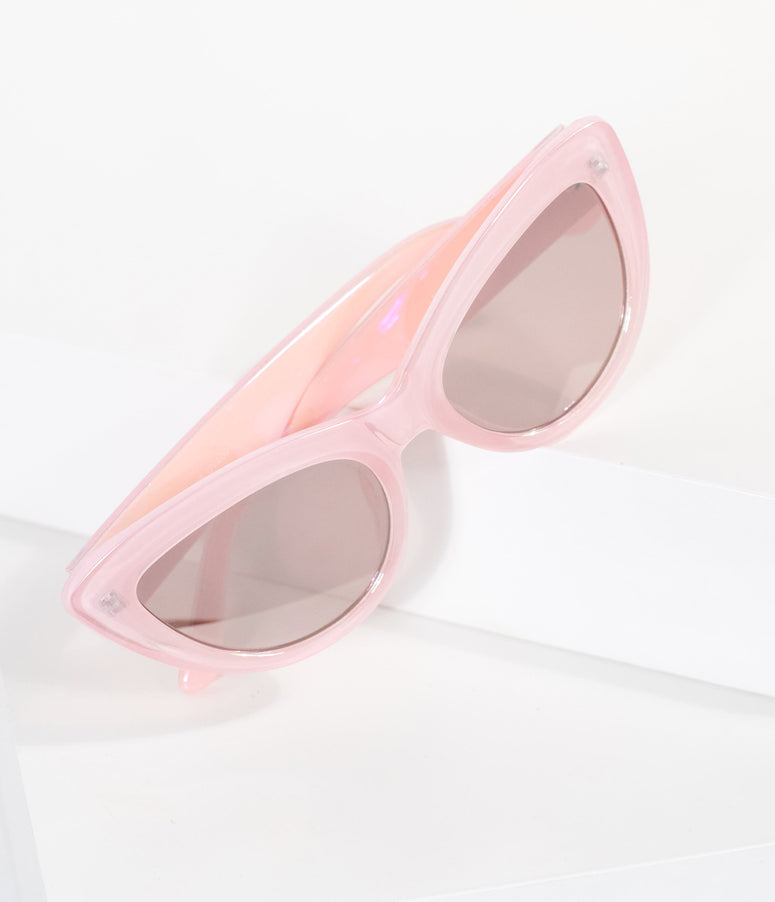 Holographic Metallic Pink Cat Eye Sunglasses
