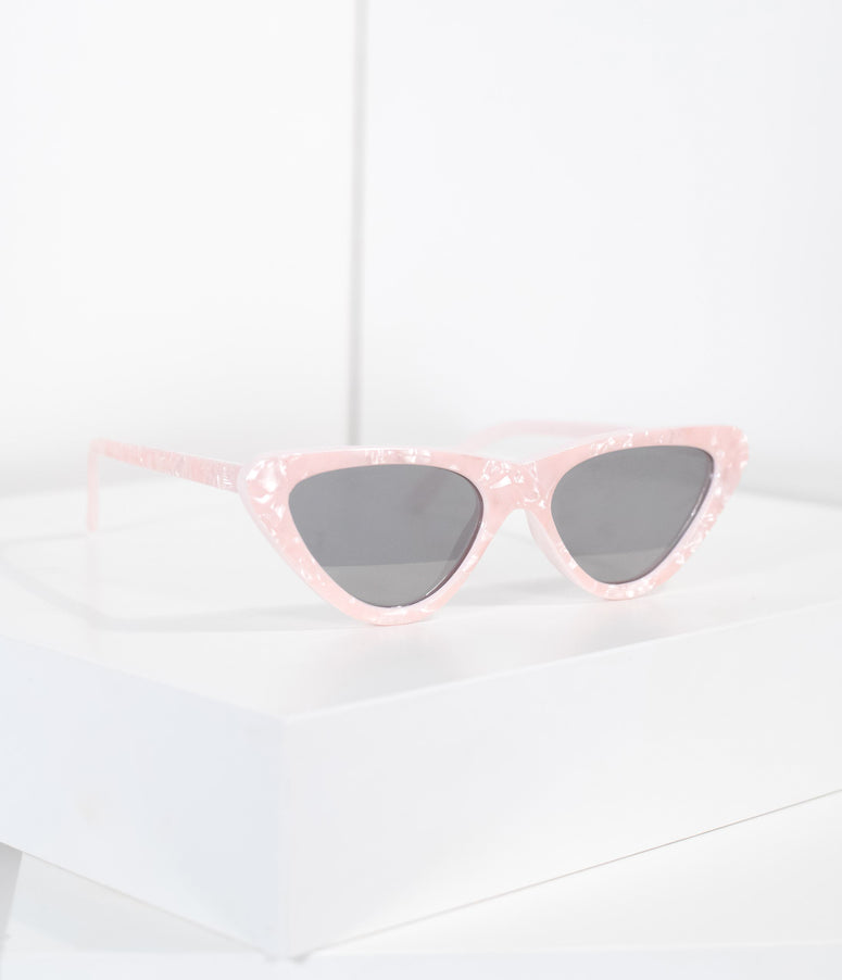 Retro Style Marble Pearl Pink Cat Eye Sunglasses