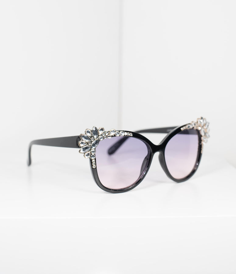 Black & Silver Rhinestone Embellished Cat Eye Sunglasses