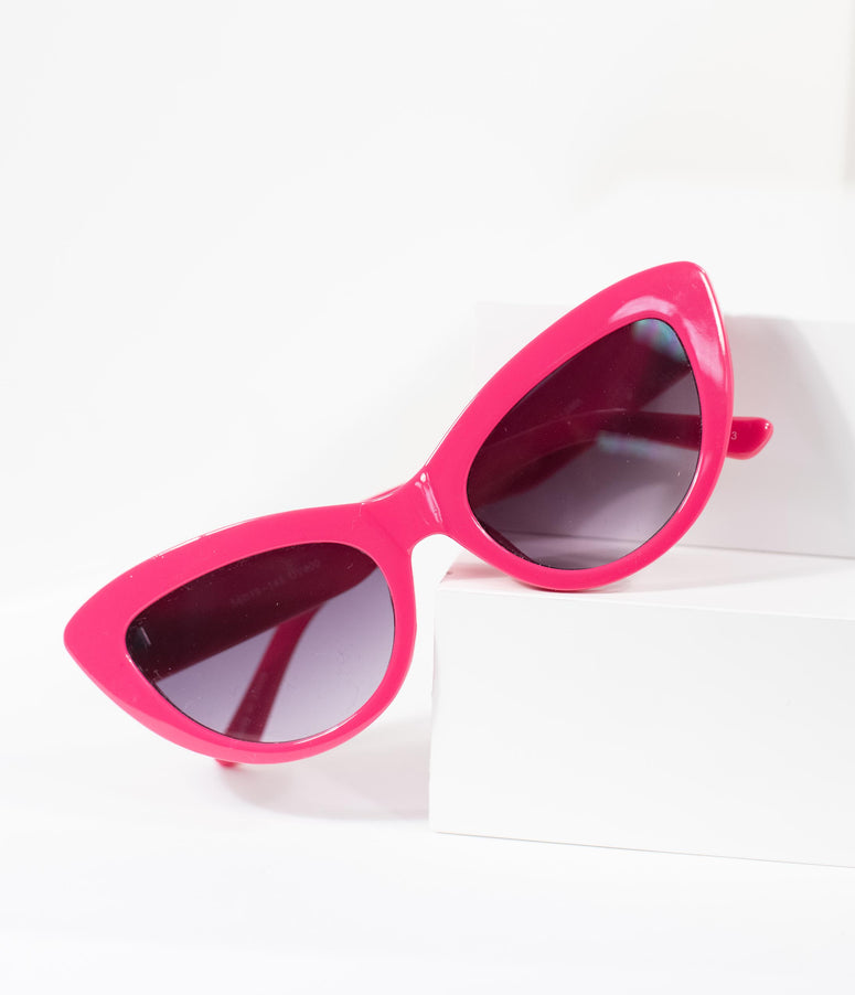 Vintage Style Hot Pink Cat Eye Sunglasses