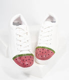 Betsey Johnson White Leatherette Watermelon Rhinestone Lace Up Sneaker