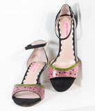 Betsey Johnson Black Suede & Rhinestone Watermelon Sandal Tavie Heels