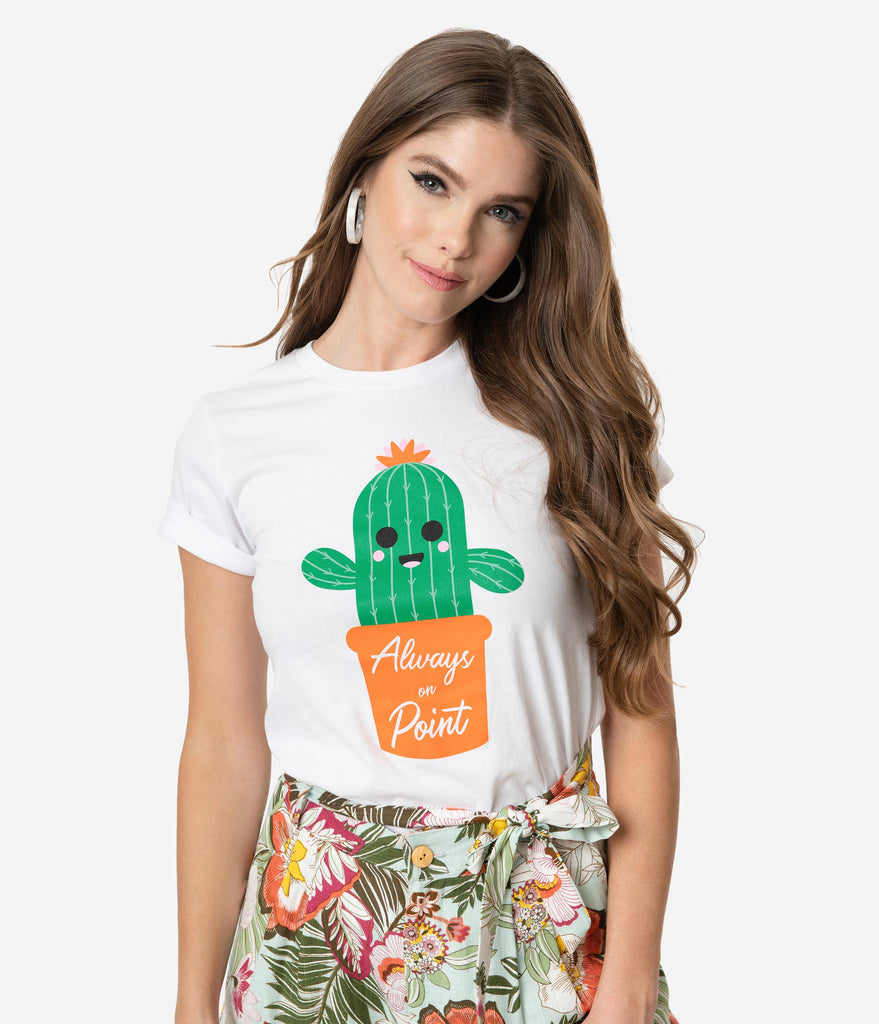 Unique Vintage White Cotton Always On Point Cactus Unisex Tee