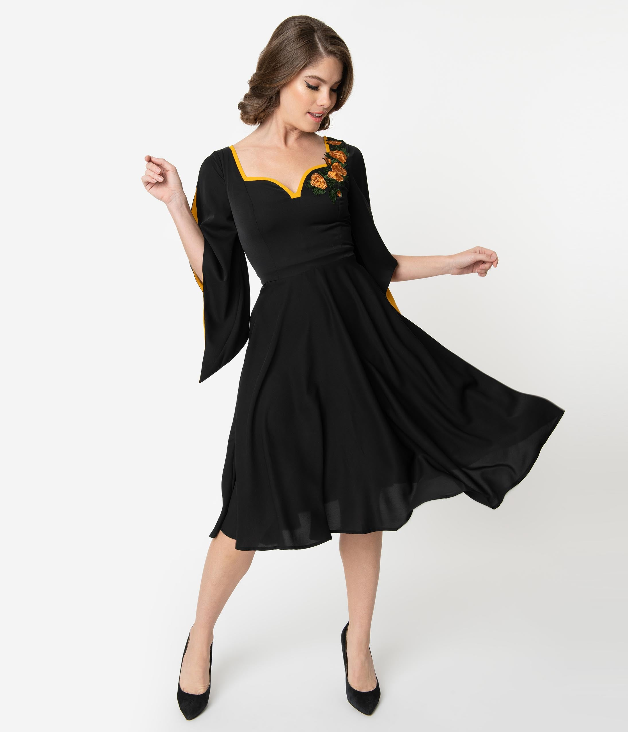 New Fifties Dresses | 50s Inspired Dresses 1940S Style Black  Mustard Embroidered Roses Lost Sunset Swing Dress $118.00 AT vintagedancer.com