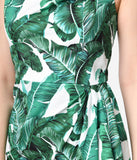 1950s Style White & Green Banana Leaf Cotton Sippin Safari Sarong Dress