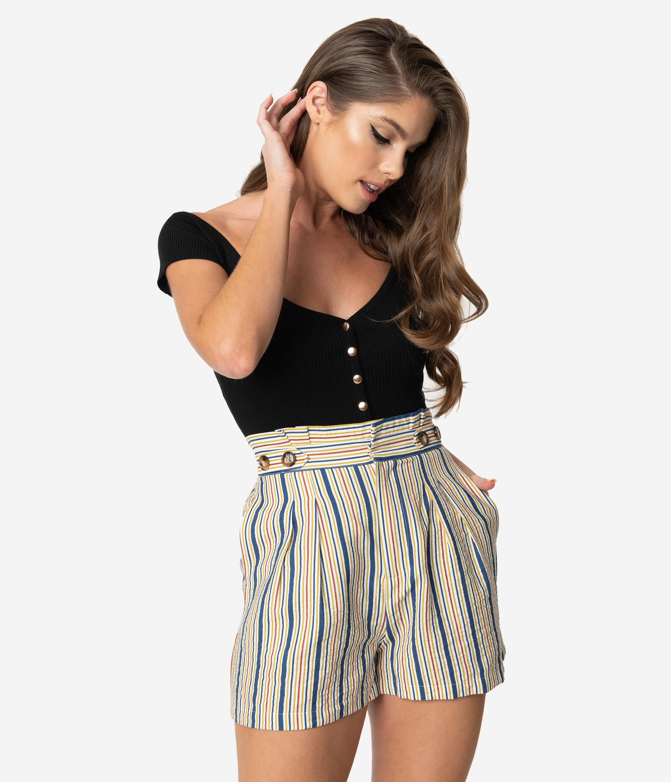 1950s Shorts History | Summer Clothing Retro Style Multicolor Striped High Waist Pleated Shorts $44.00 AT vintagedancer.com