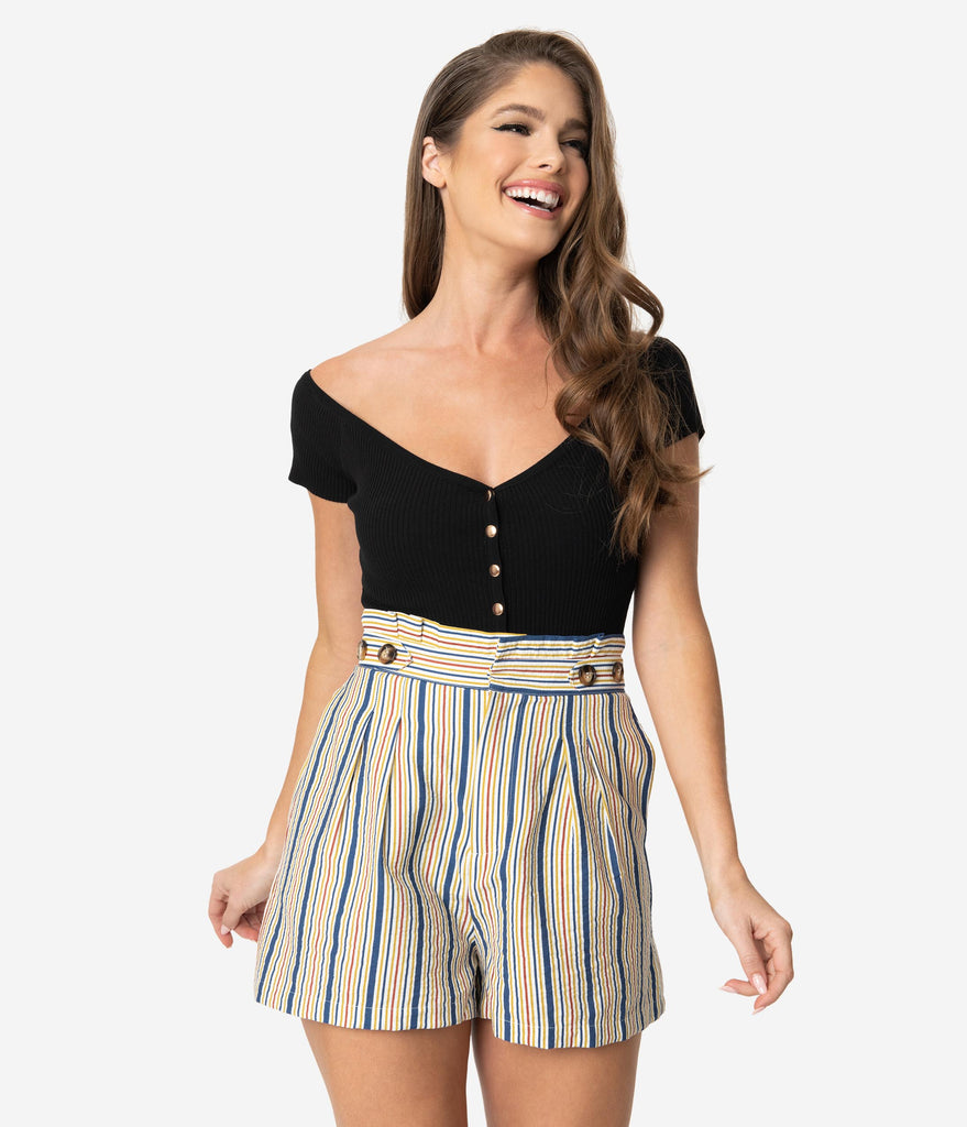 Retro Style Multicolor Striped High Waist Pleated Shorts