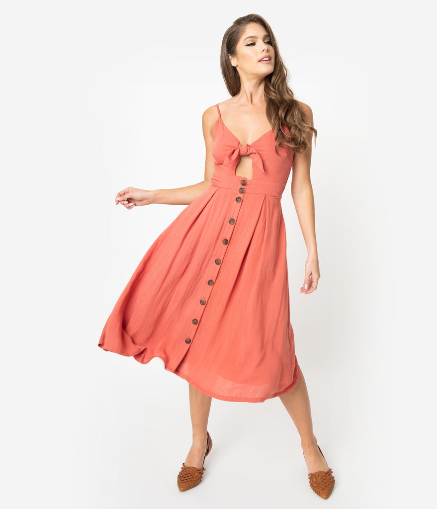 Retro Style Coral Pink Button Up Front Tie Woven Midi Dress