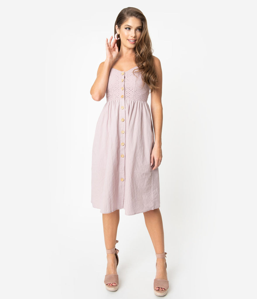 Lilac Purple Cotton Eyelet Button Up Midi Dress