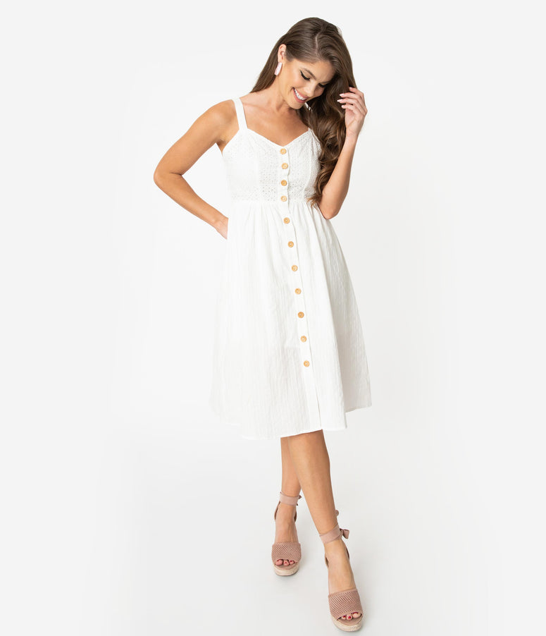 Off White Cotton Eyelet Button Up Midi Dress