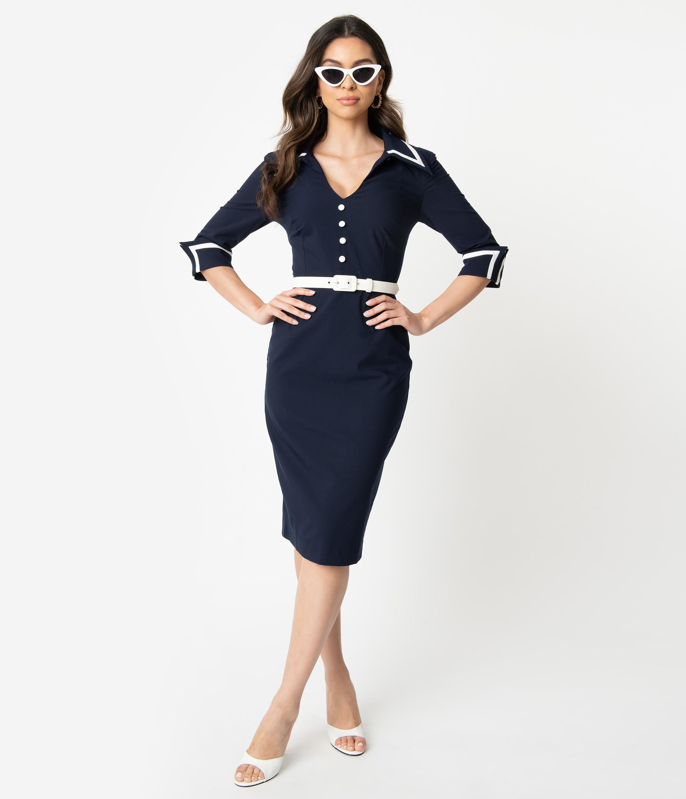 Wiggle Dresses | Pencil Dresses 40s, 50s, 60s Glamour Bunny 1960S Navy Blue Wing Cuff Gina Wiggle Dress $112.00 AT vintagedancer.com