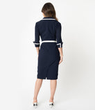 Glamour Bunny 1960s Navy Blue Wing Cuff Gina Wiggle Dress