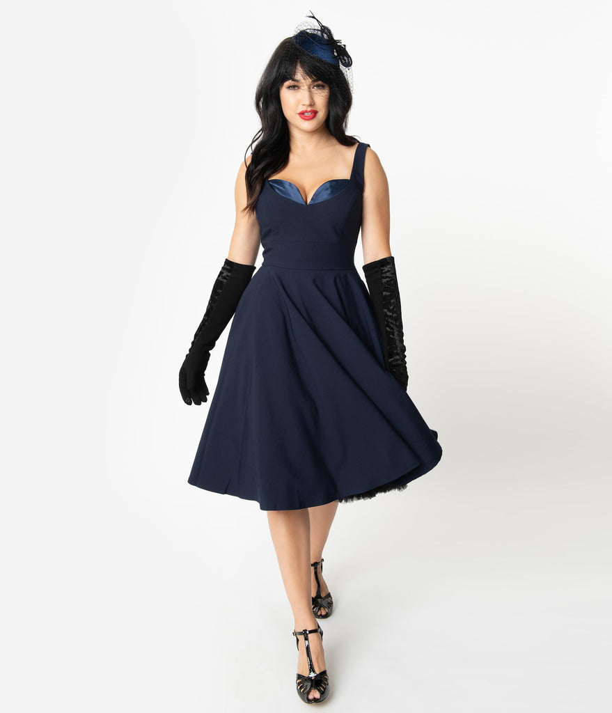 Glamour Bunny 1950s Dark Blue Sweetheart Madison Swing Dress