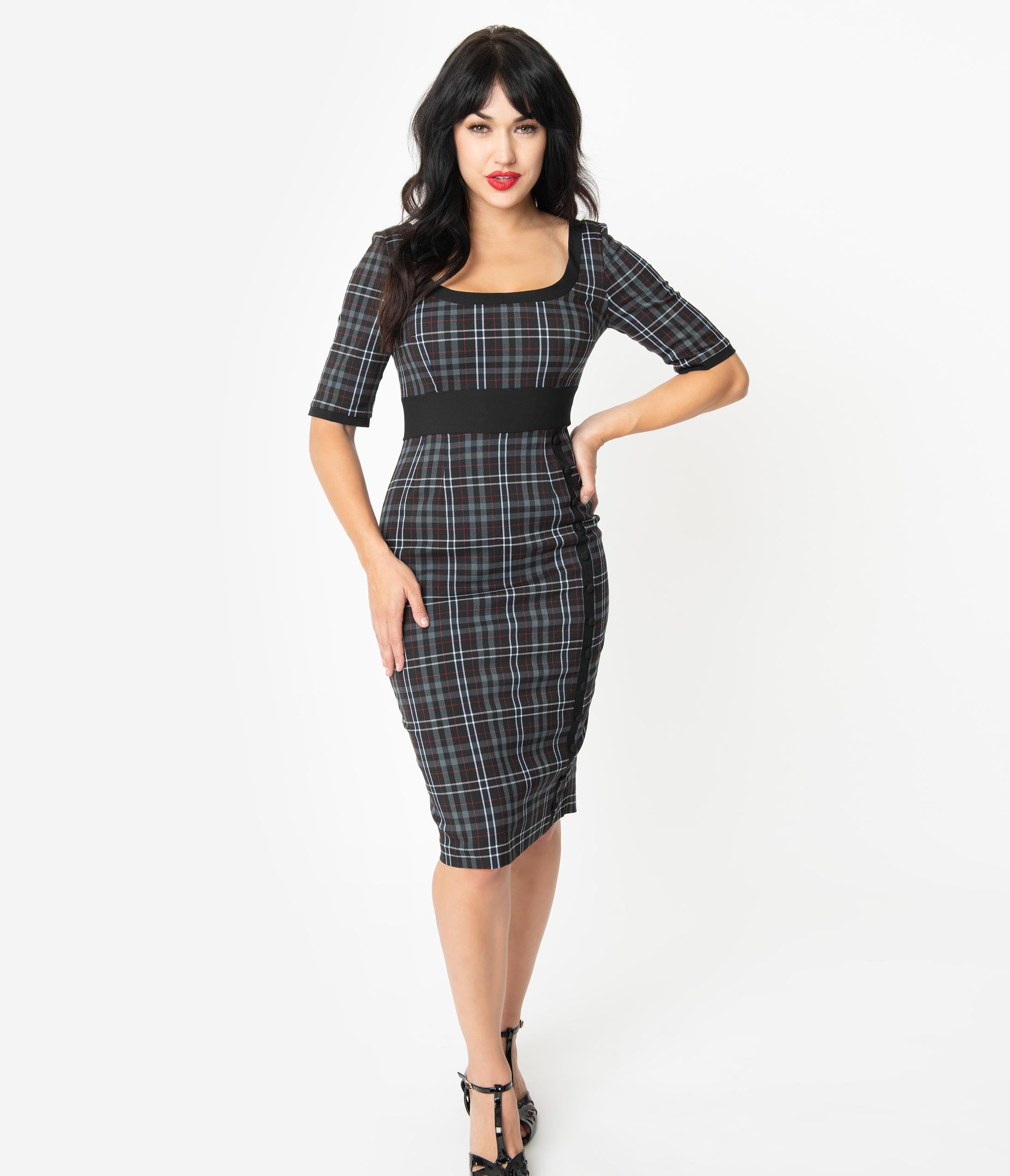 1960s Cocktail, Party, Prom, Evening Dresses Glamour Bunny 1960S Style Black  Grey Plaid Emily Pencil Dress $102.00 AT vintagedancer.com