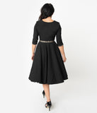 Glamour Bunny 1950s Black & Leopard Accent Harley Swing Dress