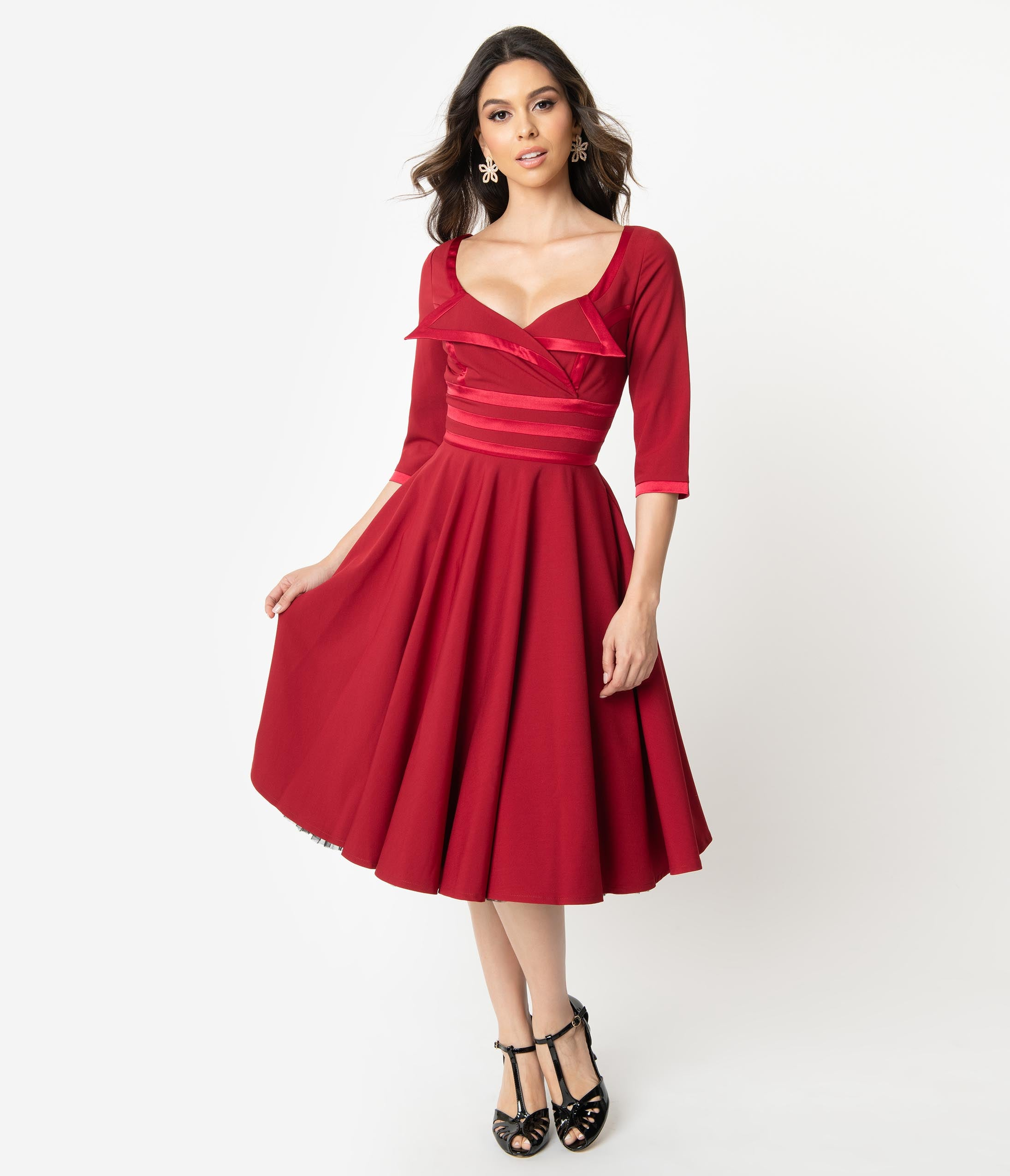 Vintage Cocktail Dresses, Party Dresses Glamour Bunny 1950S Bordeaux Red Sleeved Aline Swing Dress $132.00 AT vintagedancer.com