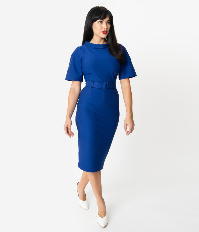 Vintage Diva 1960s Style Royal Blue Belted Jackie Pencil Dress