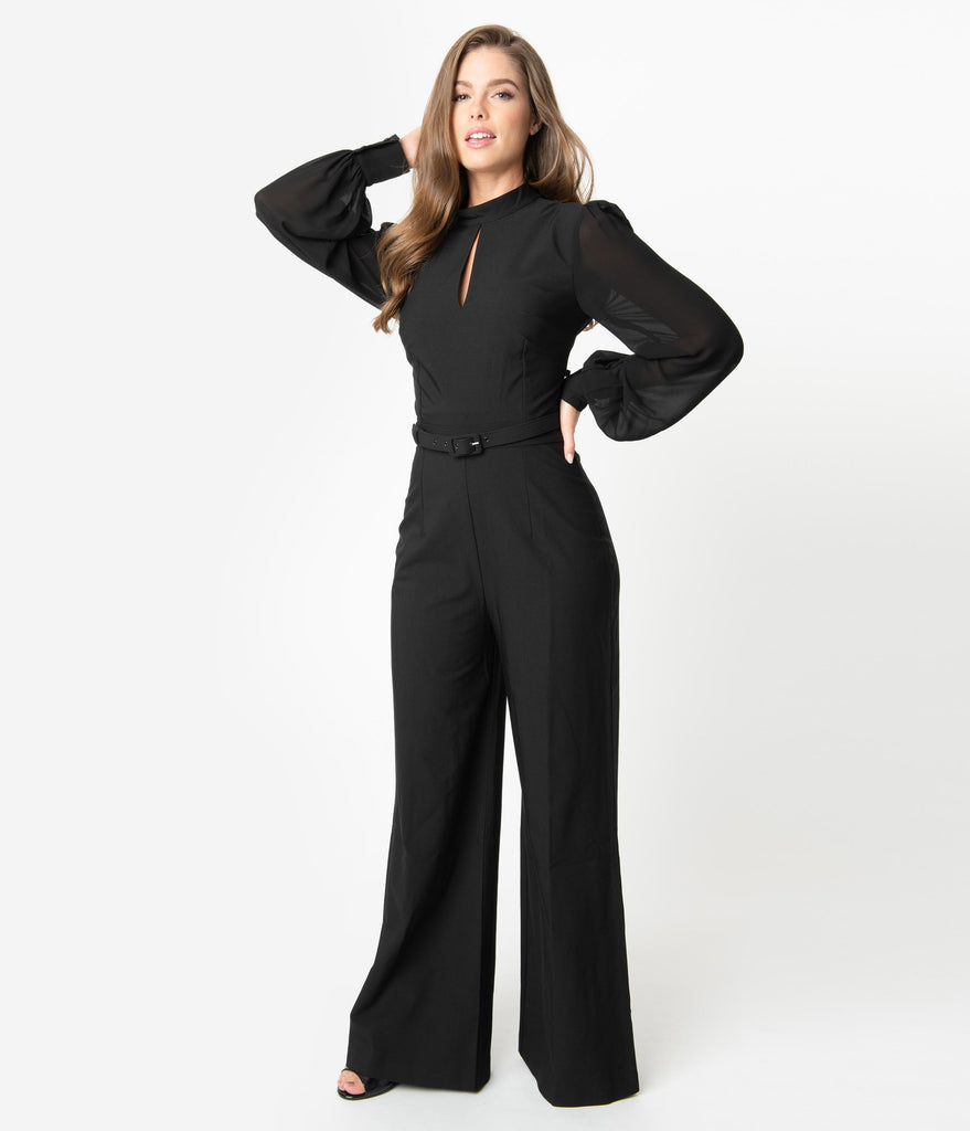 Vintage Diva 1970s Style Black Sleeved Gloria Jumpsuit