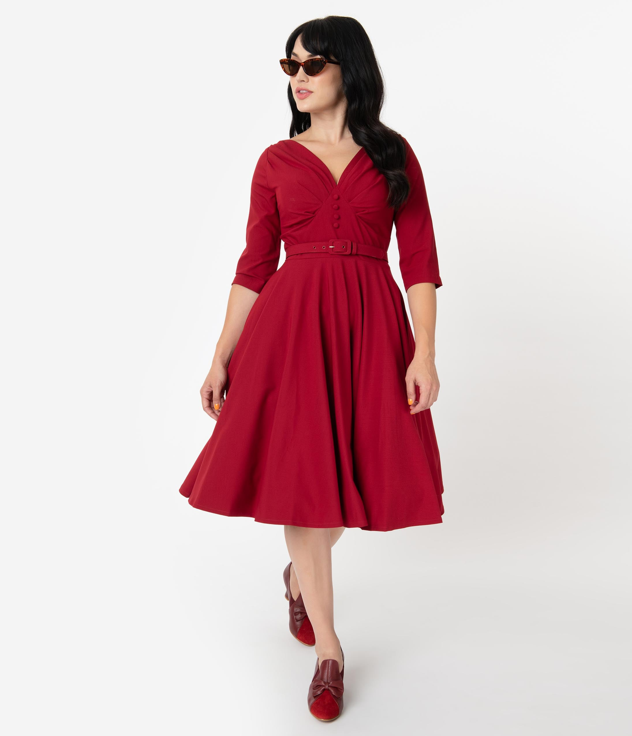 1950s Dresses, 50s Dresses | 1950s Style Dresses Vintage Diva 1950S Style Bordeaux Red Jane Swing Dress $132.00 AT vintagedancer.com