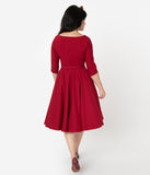 Vintage Diva 1950s Style Bordeaux Red Jane Swing Dress