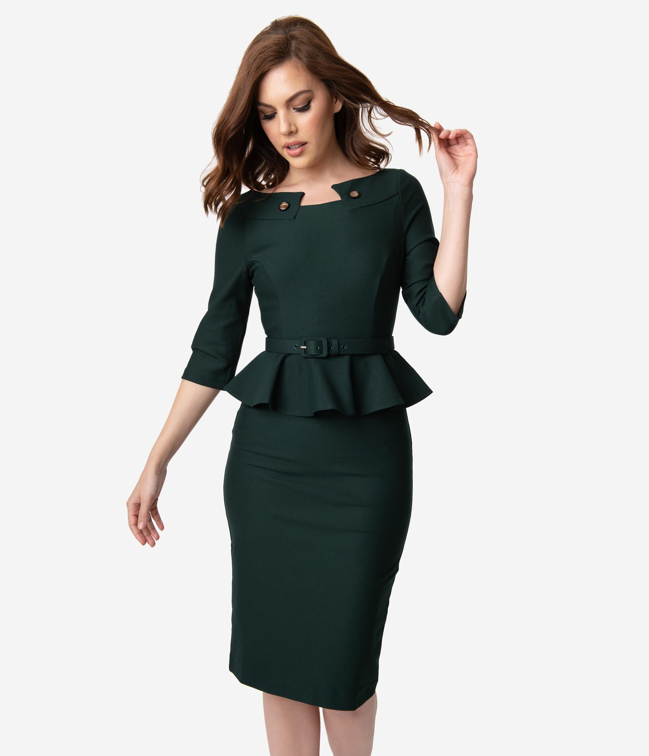 Vintage Christmas Gift Ideas for Women Vintage Diva 1960S Style Emerald Green Peplum Irene Wiggle Dress $122.00 AT vintagedancer.com