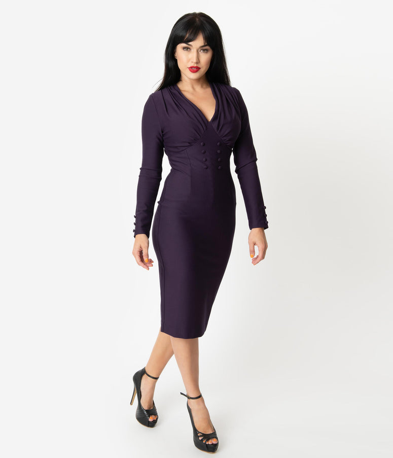 Vintage Diva 1960s Eggplant Purple Long Sleeve Richi Wiggle Dress
