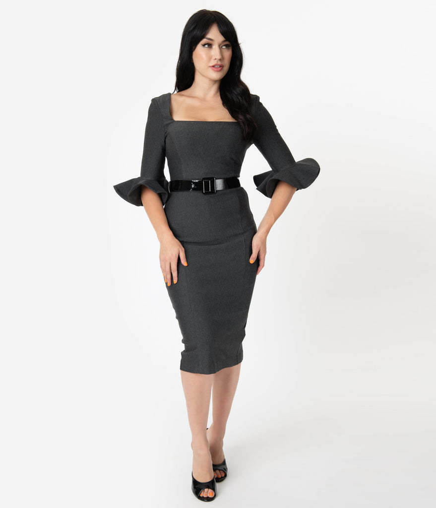 Vintage Diva 1960s Style Grey Fay Pencil Dress