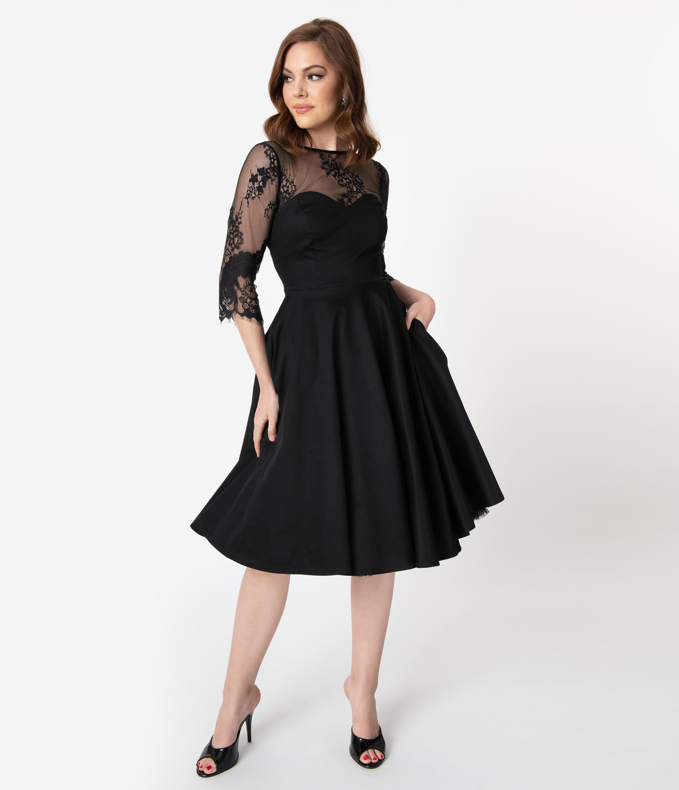 1950s Dresses, 50s Dresses | 1950s Style Dresses Vintage Diva 1950S Black Cotton  Lace Julia Swing Dress $136.00 AT vintagedancer.com