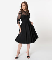 Modest Swing-Skirt 3/4 Sleeves Sweetheart Pocketed Sheer Fitted Dress