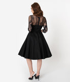 Vintage Diva 1950s Black Cotton & Lace Julia Swing Dress