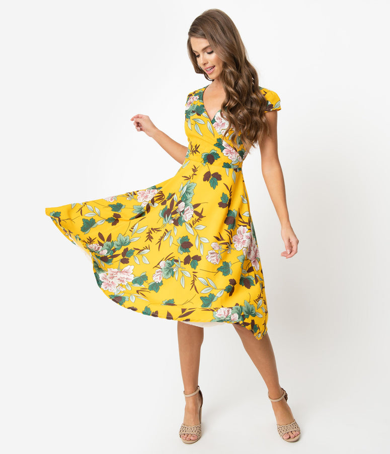 Vintage Style Yellow & Ivory Floral Print Cap Sleeve Laurina Swing Dress