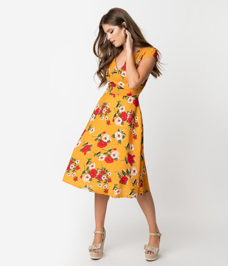 803c62906e4 Vintage Style Mustard Yellow   Floral Print Cap Sleeve Laurina Swing Dress