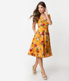 Vintage Style Mustard Yellow & Floral Print Cap Sleeve Laurina Swing Dress
