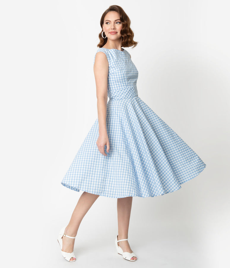 9802d464913 Vintage Style Light Blue   White Gingham Sleeveless Jenny Swing Dress