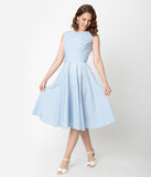 Vintage Style Light Blue & White Gingham Sleeveless Jenny Swing Dress
