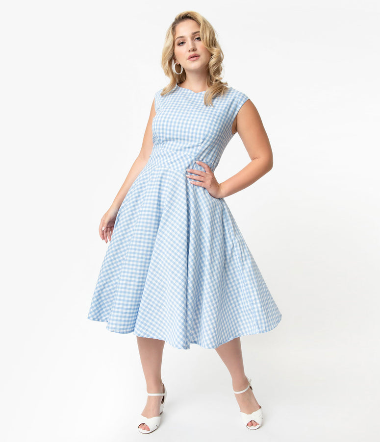 40cc3789763 Plus Size Vintage Style Light Blue   White Gingham Sleeveless Jenny Swing  Dress
